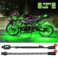 Motorcycle ATV UTV Underbody Motor Wheel Accent Light Kit Waterproof LEDs-GREEN
