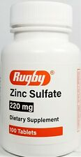 Rugby Zinc Sulfate 220mg Tablets Supplement 100 Count Bottle -Exp 01-2023