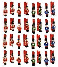 32 Dekoklammern Nussknacker mit Klammer 4,5 cm Holzklammer Weihnachten