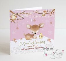 PERSONALISED Baby Girls First Christmas Card - Daughter Granddaughter Baby's