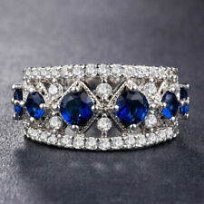Classic Engagement Wedding Traditional Bridal Ring 14K White Gold 3 Ct Sapphire