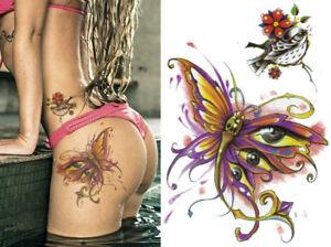 Temporary Tattoo Large Butterfly Bird Flower Body Art Sheet Fake Waterproof