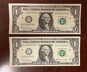 Two $1 One DOLLAR BIll ERROR 2017 Miscut Misaligned Note Misprint Consecutive