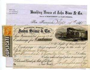 1868.  San Francisco.  John Sime & Company Banking Bill of Exchange.