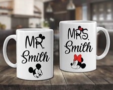 Personalised Disney Set Of 2 Mugs Mr and Mrs Coffee Cups Christmas Gift - DE2