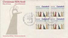CANADA #650 6¢ CHRISTMAS UL PLATE BLOCK FIRST DAY COVER