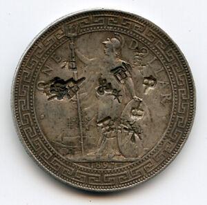 GREAT BRITAIN 1897-B TRADE DOLLAR FOR HONG KONG WITH CHOP MARKS RARE.