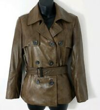 Ronit Zilkha Soft Brown Leather Double Breasted Belted Jacket M Like 10/12
