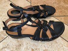 Clarks Comfy Adjustable Strap Sandals Womens Black Leather Upper Wedge Size 10M