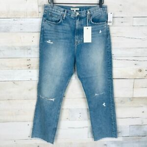 Joie Womens Weslyn Cropped Jeans Blue Whiskered Pockets Distressed Cotton 32 New