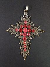 Superbe ancienne grande croix Provençale metal argenté et pierres roses XIXeme