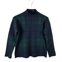 Tahari Womens Sweater Size XS Multicolor Plaid Mock Neck Long Sleeve Pullover