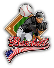 Baseball Label USA Flag Car Bumper Sticker Decal 4'' x 5''
