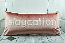 """Embroidered Decorative Pillow 25"""" x 11"""" Lacourte Slaycation Faux Fur Brand New"""