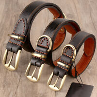 Genuine Leather Dog Collar Clip-In Buckle Real Tough CowHide Collar Brown S/L/XL