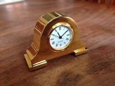 Solid Brass Metal Quartz Clock Possibly Gold Plated Rare Collectible Time Piece