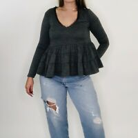 Anthropologie Deletta Thea Peplum Ruffle Long Sleeve Gray Blouse XS Womens