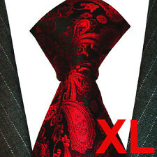 8421799 LORENZO CANA extra lange 165 cm Krawatte Seide rot schwarz ÜBERLÄNGE XL