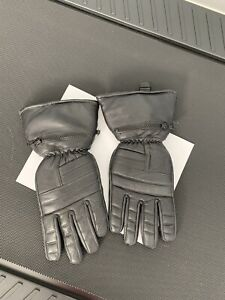 Mens Black Thinsulate leather motorcycle gloves w/ Nylon Rain Covers Size Large
