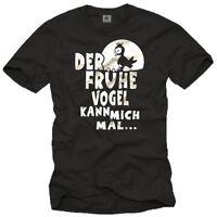 Lustiges Kult Nerd Sprüche Herren T-Shirt mit DER FRÜHE VOGEL KANN MICH MAL