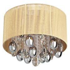 Lampadario barocco colore cromo metallo gocce cristallo abat-jour beige classico