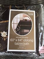 NIB Dark Brown Cotton Tablecloth W/ Velveteen Trim And Embroidery 60 X 84