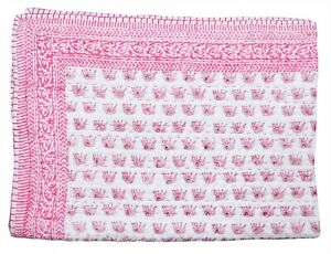 Indian Cotton Toddler Bedding Bed Cover Kantha Quilt Nursery Coverlet Blanket