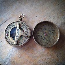 2pc Vintage Style Sundial Compass Calendar Pendant Nautical Antique Brass