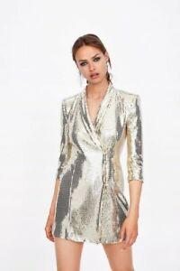 Zara Sequin Blazer Shiny Gold Dress NWOT Sz M