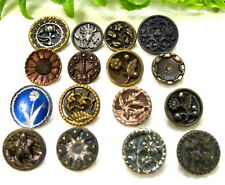LOVELY LOT OF  SMALL VICTORIAN METAL BUTTONS W/ FLOWERS D75
