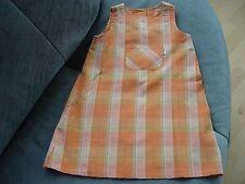 Jako-O Kleid Gr. 86 orange kariert mit hellgrünen Streifen und dünnen Goldfäden