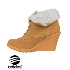 Womens adidas Neo Chill Wedge Heel Faux Fur Warm BOOTS Size UK 7 Tan.