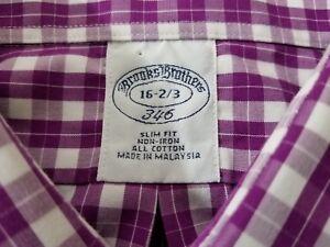 Brooks Brothers 346 Purple Plaid NON IRON Button Up SLIM FIT Dress Shirt 16 2/3