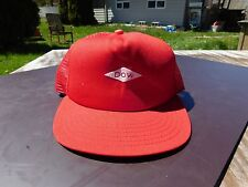 Red Dow Truckers Mesh Back Snapback Hat Excellent Condition