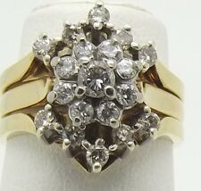 18CT YELLOW & WHITE GOLD DIAMOND WEDDING,ENGAGEMENT,ETERNITY RING SET VAL-$4170