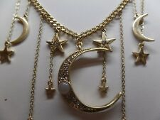 CRYSTAL CELESTIAL MOON & STARS CHARMS NECKLACE!