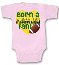 Born a Green Bay Packers Football Fan Baby Bodysuit Cute New Gift Size & Color