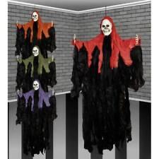 "Large 44"" Hooded Hanging Skull Head Skeleton Ghoul Shroud Halloween Decoration"
