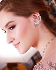 GLITZY PAVE+PRONG SET LEAF CUFF CUBIC ZIRCONIA EARRINGS-STERLING SILVER