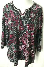 Alfred Dunner Bling Stretch Embellished Beaded 3/4 Sleeve Tunic Size 1X (18/20)