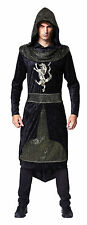 MEDIEVALE & GOTICO DARK #prince NERO CON CAPPUCCIO ROBE Fancy Dress Costume Adulto
