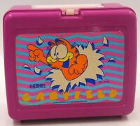 Vintage 1978 Garfield Hot Pink Lunchbox And Thermos