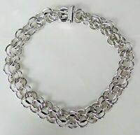 Vintage Elco Sterling Silver Double Link Charm Bracelet for CHARMS
