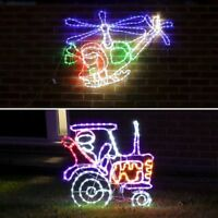 OUTDOOR MAINS PLUG LED ROPE LIGHT FATHER CHRISTMAS SANTA SILHOUETTE DECORATION