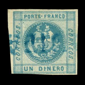 """PERU 1858 Coat of Arms  1d slate blue Scott # 7 used """"PIURA"""" blue cancel"""