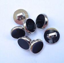5 x Bottoni Camicia Abito Nero con finiture in argento gambo sul retro 8mm *