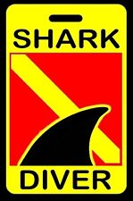Safety Yellow SHARK DIVER with Dorsal Fin SCUBA Diving Luggage/Gear Bag Tag-New