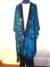 Velvet unstructured jacket. Size to 28. Blue/jade green NEW