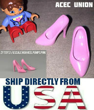 "1/6 High Heel Pumps Shoes PINK For 12"" Hot Toys Phicen Female Figure USA SELLER"