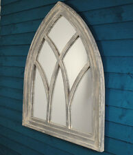 Fallen Fruits Arched Gothic Mirror White Wash Shabby Chic Wall Mounted